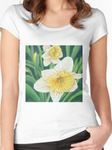 Spring Daffodils Painting Women's Fitted Scoop T-Shirt