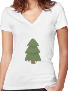 Cartoon Evergreen Tree Women's Fitted V-Neck T-Shirt