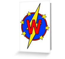 My Cute Little Super Hero - Letter W Greeting Card