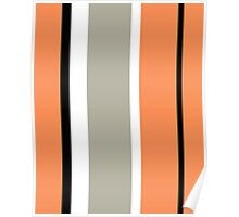Stripy - Orange and Grey Poster