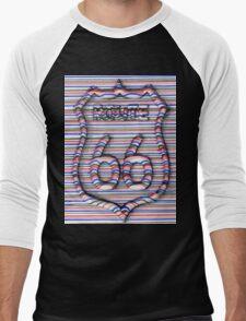 Route 66 3d line  Men's Baseball ¾ T-Shirt