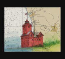 Holland Harbor Lighthouse Lake MI Map Cathy Peek Kids Tee