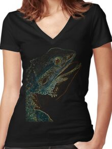 leguan, colored leguan Women's Fitted V-Neck T-Shirt