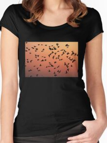 Flock f Birds at Sunset Women's Fitted Scoop T-Shirt