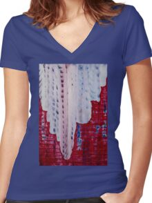 Snowy Canyon original painting Women's Fitted V-Neck T-Shirt
