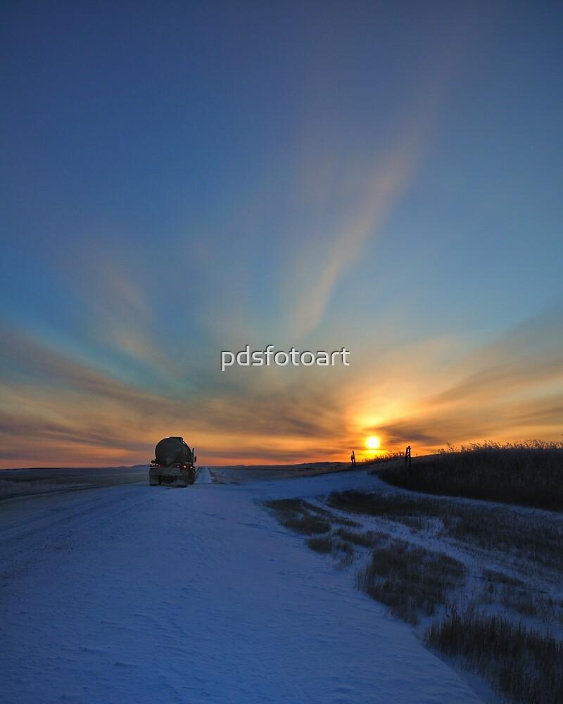 Cold winter morning in the Bakken oil fields, North Dakota by pdsfotoart