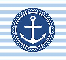 Anchor emblem on pale blue stripes by Mhea