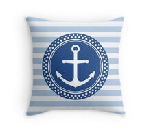 Anchor emblem on pale blue stripes Throw Pillow