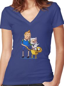 The Adventure Time of Tintin Women's Fitted V-Neck T-Shirt