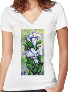 Lily Blue Flowers Purple Green Yellow Beautiful Women's Fitted V-Neck T-Shirt