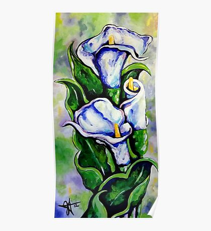 Lily Blue Flowers Purple Green Yellow Beautiful Poster