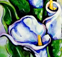 Lily Blue Flowers Purple Green Yellow Beautiful Sticker