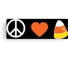 Peace Love Candy Corn Canvas Print