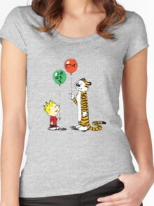 Calvin and Hobbes balloon Women's Fitted Scoop T-Shirt