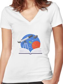 Astronomy Emblem Women's Fitted V-Neck T-Shirt