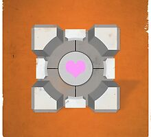 Portal Companion Cube Orange by dylanwest2010