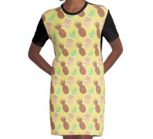 Pineapple Pattern Design on Yellow Graphic T-Shirt Dress