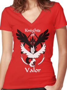 Knights of Valor, black and white Women's Fitted V-Neck T-Shirt