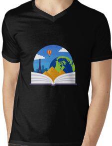 Geography Emblem Mens V-Neck T-Shirt