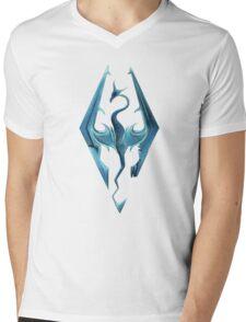 Skyrim blue logo Mens V-Neck T-Shirt
