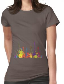 Crazy multicolored running SPLASHES horizontal Womens Fitted T-Shirt