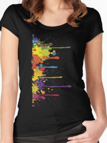 Crazy multicolored running SPLASHES vertical Women's Fitted Scoop T-Shirt