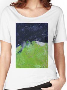 Brazil Lencois Maranhenses National Park Sao Marcos Bay Satellite Image Women's Relaxed Fit T-Shirt