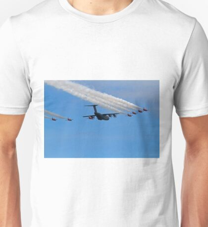 Airbus A400M Military Transport Aircraft  with the Red Arrows Unisex T-Shirt