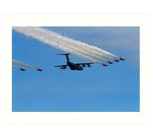 Airbus A400M Military Transport Aircraft  with the Red Arrows Art Print