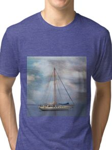 Boat on the River Tay Dundee Scotland. Tri-blend T-Shirt