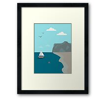 Sea shore with a boat and a shark approaching people  Framed Print