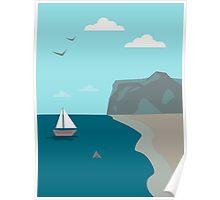 Sea shore with a boat and a shark approaching people  Poster