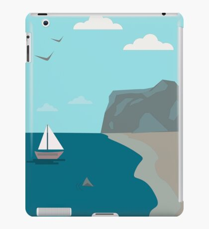 Sea shore with a boat and a shark approaching people  iPad Case/Skin