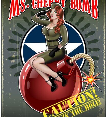 Ms. Cherry Bomb - military pin up girl  Sticker