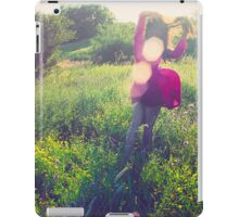 Girl with wind blowing dress in green iPad Case/Skin