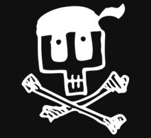 Cute Pirate Skull and Cross Bones White by Carolina Swagger