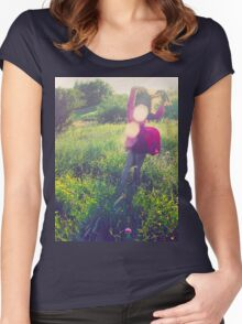 Girl with wind blowing dress in green Women's Fitted Scoop T-Shirt