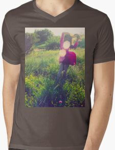 Girl with wind blowing dress in green Mens V-Neck T-Shirt
