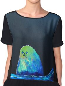 blue bird of happiness on a black background Chiffon Top