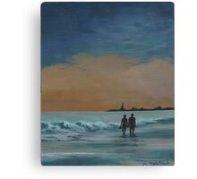 Sunset Stroll on the Shore Canvas Print