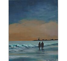 Sunset Stroll on the Shore Photographic Print