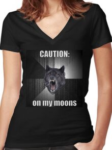 Period Warning Women's Fitted V-Neck T-Shirt