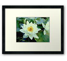 8bit lotus Framed Print