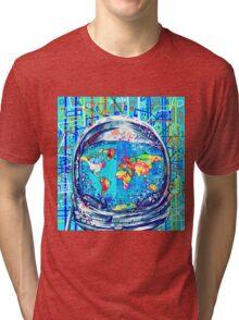 astronaut world map 5 Tri-blend T-Shirt
