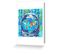 astronaut world map 5 Greeting Card
