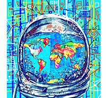 astronaut world map 5 Photographic Print