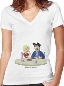 Pirate Chest Pain Women's Fitted V-Neck T-Shirt