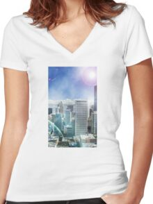 Galaxy Utopia Women's Fitted V-Neck T-Shirt