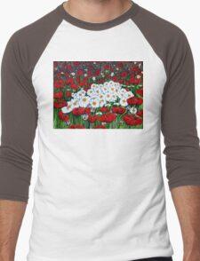 Rubies And Pearls Flowers Daisy Poppy Poppies Daisies Field Wildflowers  Men's Baseball ¾ T-Shirt
