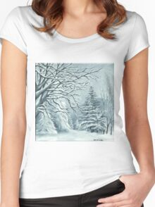 Mountains and Trees on a Snowy Day Women's Fitted Scoop T-Shirt